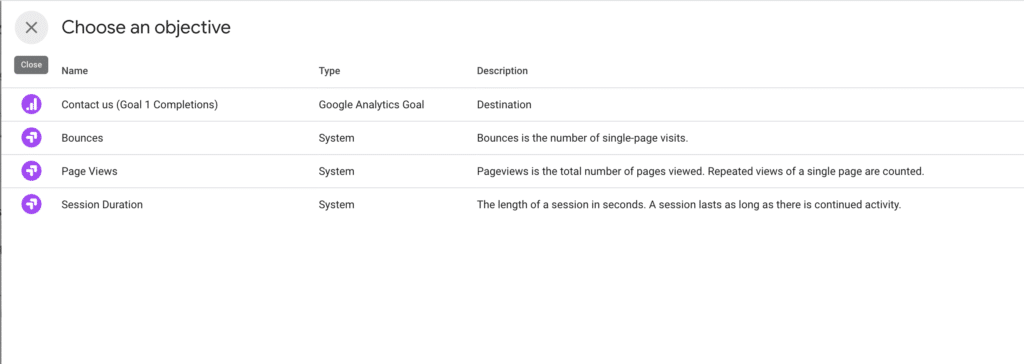 Google Optimize Objectives